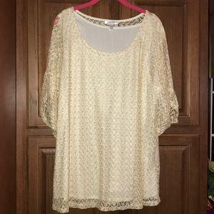 Dress Barn Plus Size Lace Blouse Shirt 3X